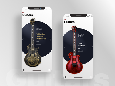 Guitars iphone x guitar flat typography ui design