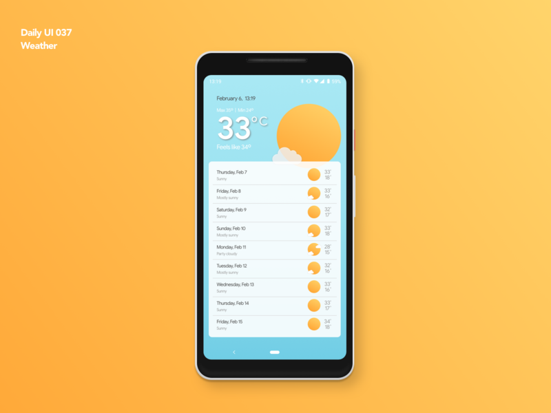 Weather | Daily UI 037 dailyui037 android weather forecast weather weather app app design ui ux dailyui