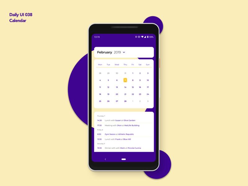 Calendar | Daily UI 038 dailyui038 calendar design app design ui ux dailyui calendar app calendar