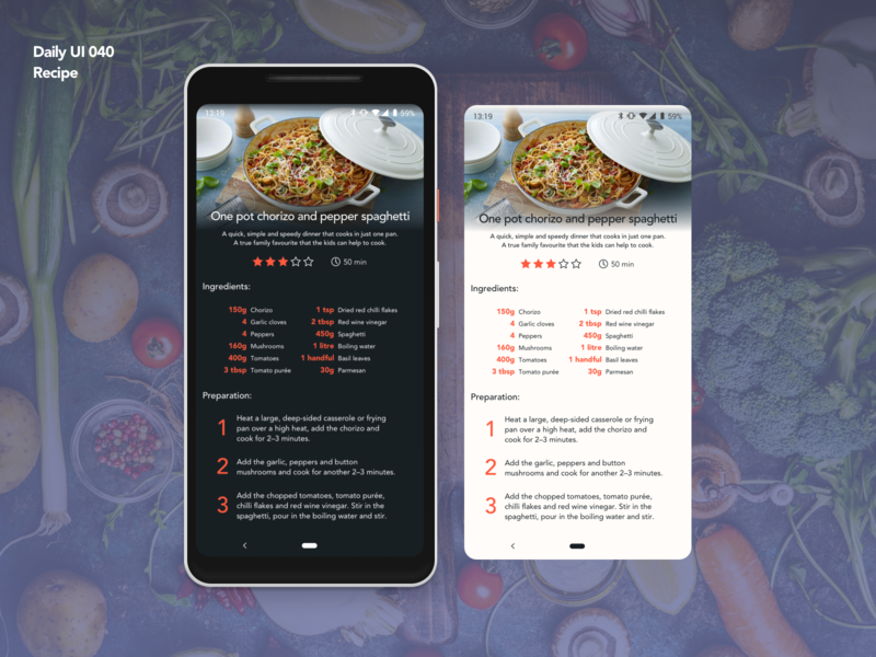 Recipe | Daily UI 040 dailyui040 cooking recipe app recipe app design ui ux dailyui