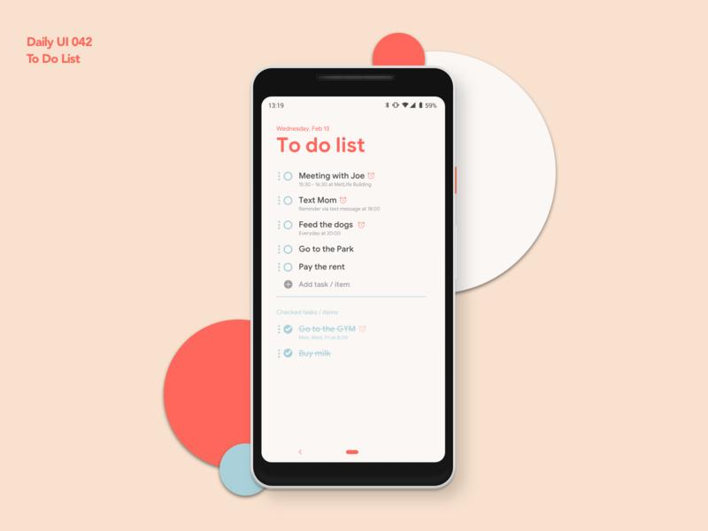 To Do List | Daily UI 042 dailyui042 to do app to do to do list android app design ui ux dailyui