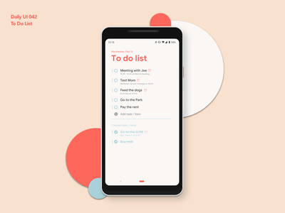 To Do List | Daily UI 042 dailyui042 to do app to do to do list android app design ui ux dailyui