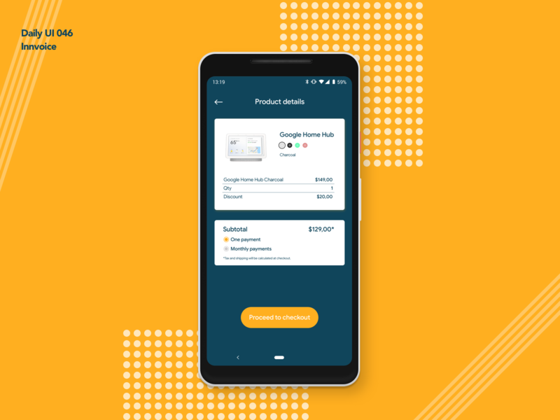 Innvoice | Daily UI 046 product checkout innvoice card android app design ui ux dailyui