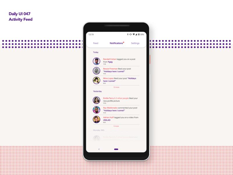 Activity Feed | Daily UI 047 dailyui047 notification activity feed activity feed mobile android app design ui ux dailyui