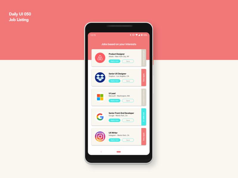 Job Listing | Daily UI 050 dailyui050 job listing job mobile card android app design ui ux dailyui