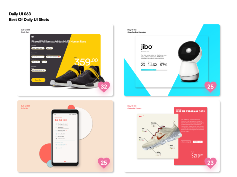 Daily UI 063 | Best of black red blue yellow customize to do list crowdfunding check out nike jibo adidas web mobile cards daily ui shots best of design dailyui ui ux