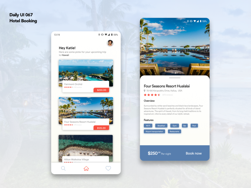 Daily UI 067 | Hotel Booking hotel booking app mobile app booking app travel app blue white hawaii travelling travel hotel app booking hotel booking mobile card android app design dailyui ui ux