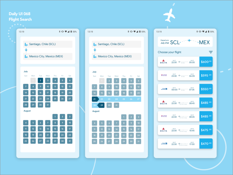 Daily UI 068 | Flight Search mobile ux mobile ui mobile design mobile app travel card airplanes white blue and white blue search flight flight search flight android mobile app design dailyui ui ux