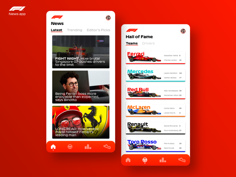 Formula 1 News App Concept - Part 1 bottas vettel leclerc race racing formula1 formula red bull mercedes ferrari red one formula one formula 1 mobile sketch app design ui ux