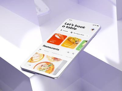 Restaurant Reservation App visual 3d ux home reservation restaurant clean design app ui