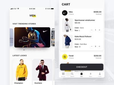 Fashion & Shopping App buy cart trending store fashion clean design app ux ui