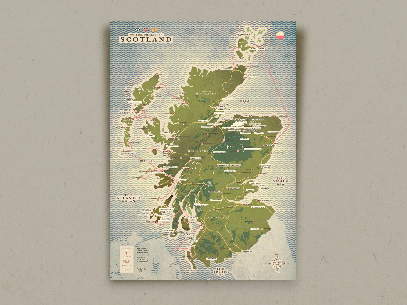 The fine whiskies of Scotland maps cartography map illustration