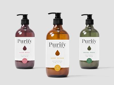 Branding for a new body care range, Purify simple mockup design cosmetics skincare bodycare branding