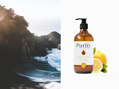Purify skincare, salt and lemon. lemon skincare product green organic branding bodycare purify