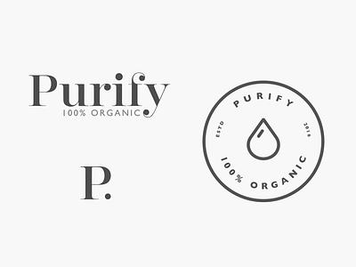 Purify branding  skincare product logo organic branding bodycare purify