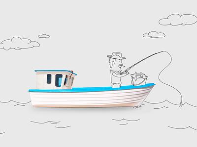 Fisherman and Fishmonger design vector illustration fishmonger fisherman