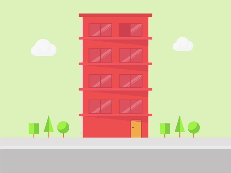 Building door window street tree cloud red apartament building