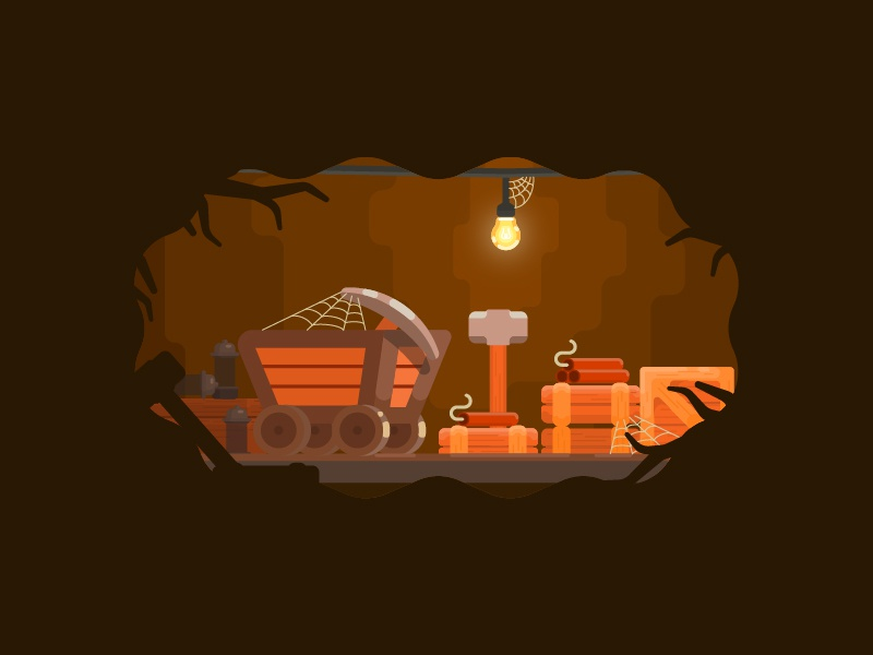 Mine mine train lantern illustration design brown cave crypto currency adobe web dynamite bulb mine vector illustrator