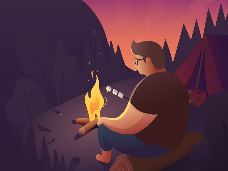 Camp ui website web dusk mannheim illustration app outdoor tent camper fire camping camp bonfire