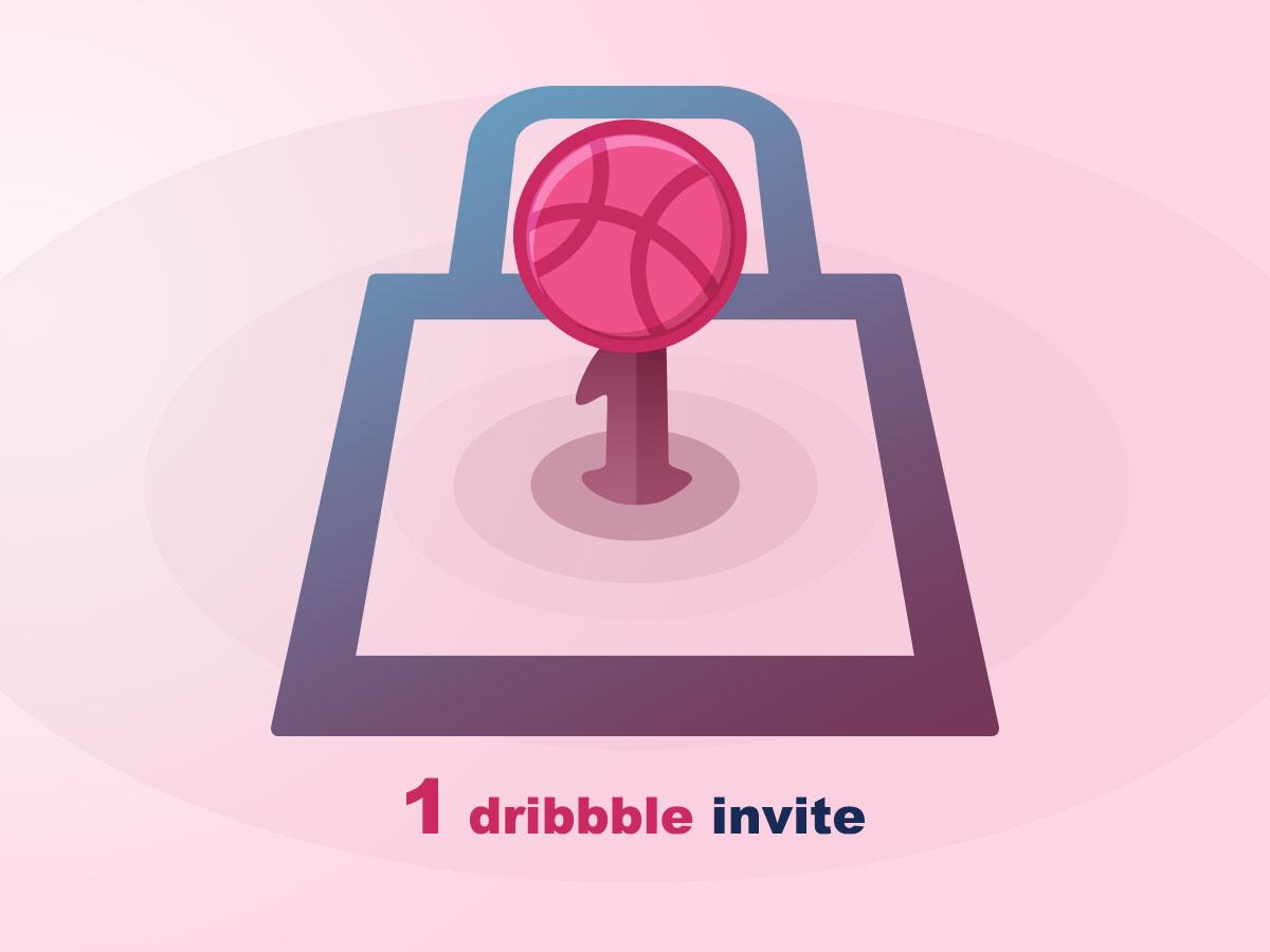 1 Dribbble Invites illustration ux interface pink invite design dribbble ball invitation invite