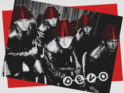 DEVO halftone printmaking typography devo posters bands music graphic design design art