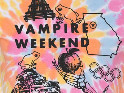 Vampire Weekend Live In Atlanta vampire weekend tie dye tees shirts bands illustration music typography graphic design design art