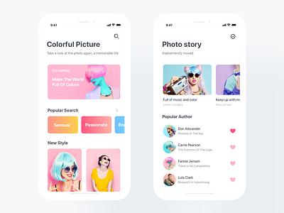 Photo sharing application colour iphonex app photo