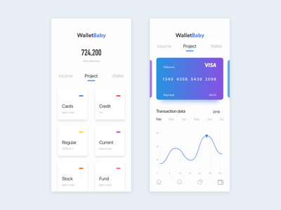 walletbaby app hidden message wallet app app concept data demonstration bank card blue ux ui iphonex