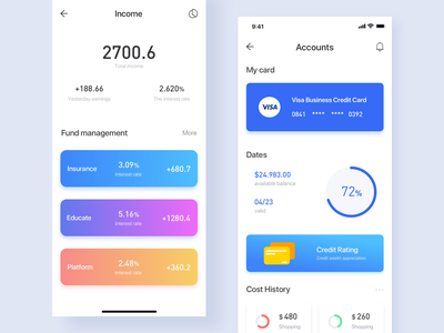 Page design for personal wallet revenue growth 插图 蓝色 钱包应用 financial view increase data visualization income 应用 颜色 iphonex ui