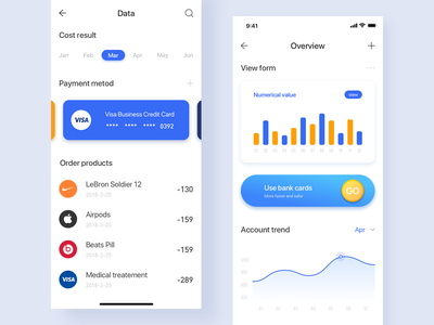 Personal wallet data page design 插图 data visualization ui ux 蓝色 颜色 钱包应用 financial financial app data date