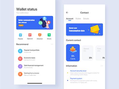 Personal wallet status page wallet wallet app financial iphonex ui 颜色 蓝色 illustration