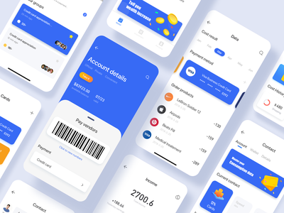 Personal wallet page design collection ui illustration iphonex app 颜色 蓝色