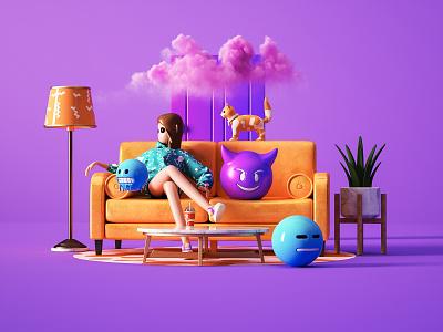 3D character scene 2 emoji cocacola cat girl character light sofa cloud 3d 2020 potoshop cimema4d