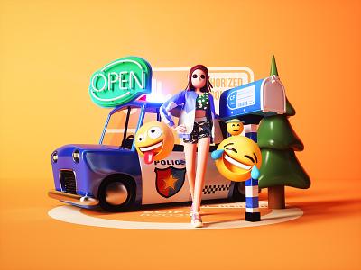 3D character scene 3 girl tree emoji car illustration 3d 2020 potoshop cimema4d