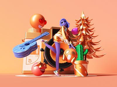 3D character scene 4 music tree camera orange photoshop emoji girl 3d 2020 cimema4d