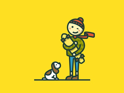 Me, my longboard and puppy happy skate friends friendship longboard puppy character flat illustration
