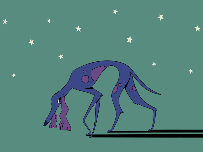 Sneaky pup animal whippet greyhound character illustration dog