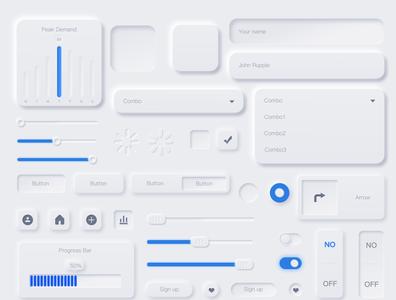 Neumorphic UX UI Elements  (Bright color) design ui
