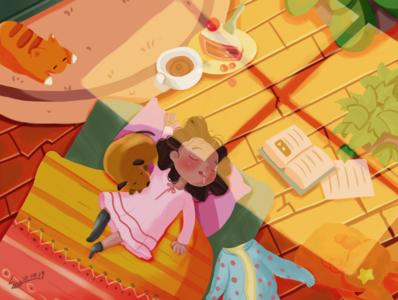 Girl in sleep gif illustration