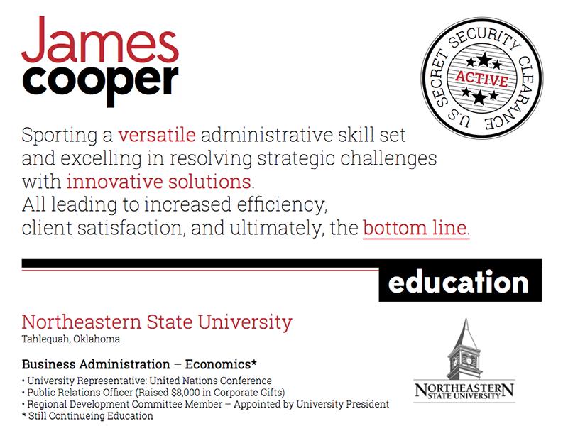 James Cooper Resume Design resume design clean
