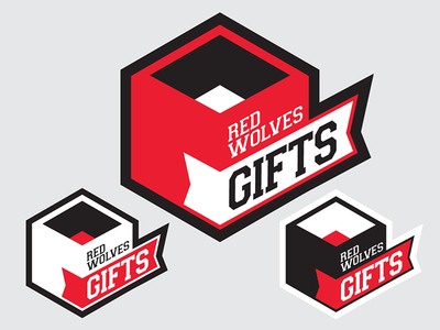 Red Wolves Gifts logo red wolves gifts hexagon box gift ribbon geometric logo