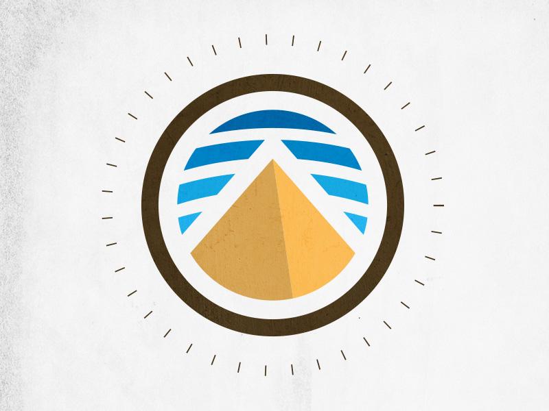 Sand Monument mark sky pyramid desert logo