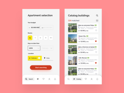 Search of Apartments ui pack design ux-ui catalog ios uidesign real estate app apartments