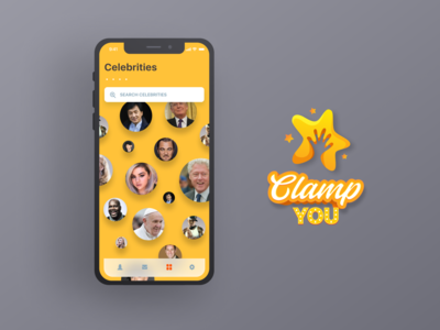Clamp app concept illustration logo design userinterface ux ui uidesign hands clamphands celebrities ux-ui mobileui mobileapp app