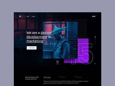Project Showcase 19 - Creative studio typography branding homepage gradient website landing page design ux web ui