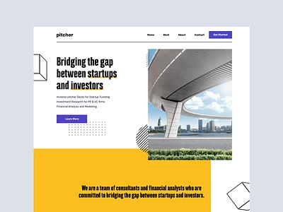 Startup Funding Agency landing page marketing startup marketing website concept website design pitch blue yellow ux landing branding funding startup homepage website design web ui