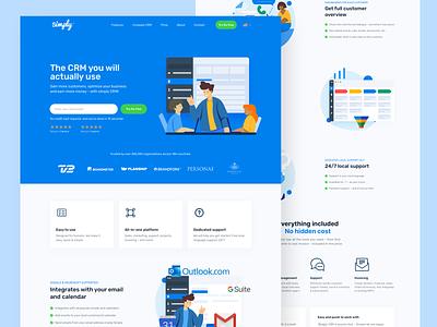 Simply CRM illustration crm agency homepage landing page website design ux ui web saas website saas