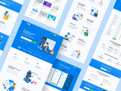 Simply CRM - Pages Overview crm software crm website website design ux ui vector illustration homepage landing page page layout page design web