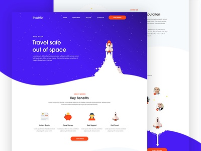 Insurio - Travel Insurance ux ui website web space clean gradient homepage landing page insurance travel