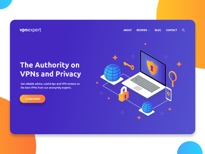 Landing Page - VPN Expert web landing page isometric illustration hero home vpn gradient colorful
